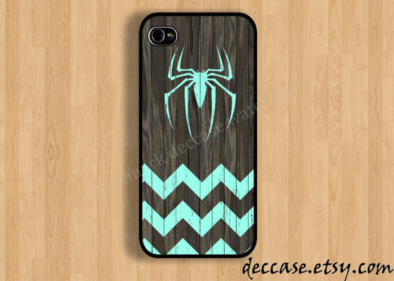 Iphone 5 Case Mint Spider Man Logo Chevron On Dark Wood